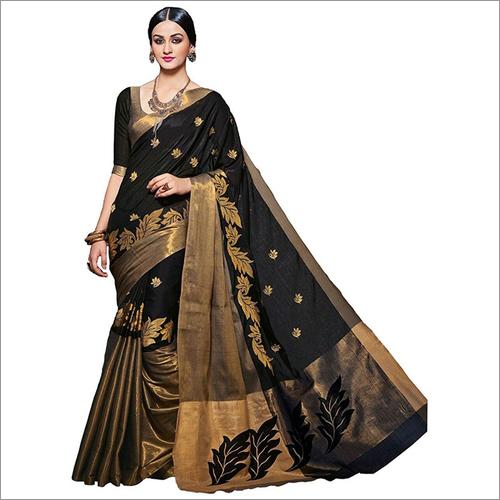 Visava Embroidery Work Cotton Silk Saree