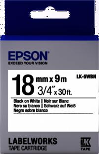 Details  Epson Label Works Tape  Black on Transparent