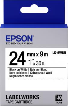 Epson LW Tape- LK-6WBN- 24 mm