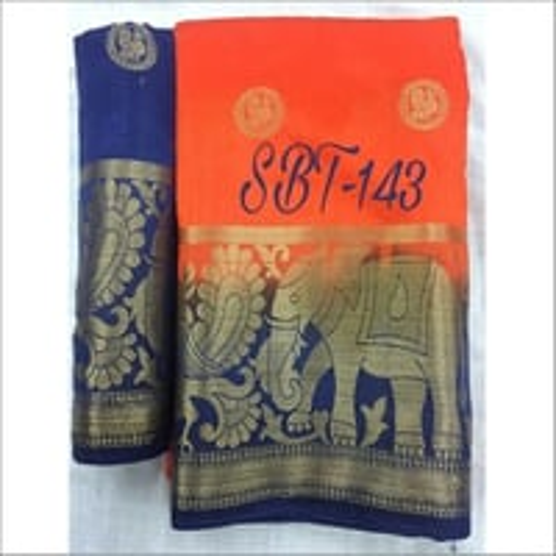 Kanjivaram Style Saree With Jari Butta In Body