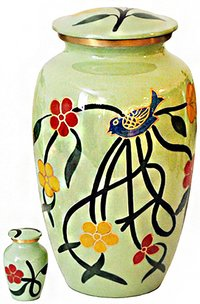Bird Yellow Aluminium Cremation Urn For Ashes