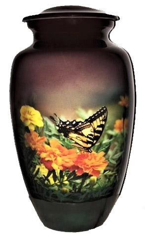 Butterfly Aluminium Cremation Urn For Ashes