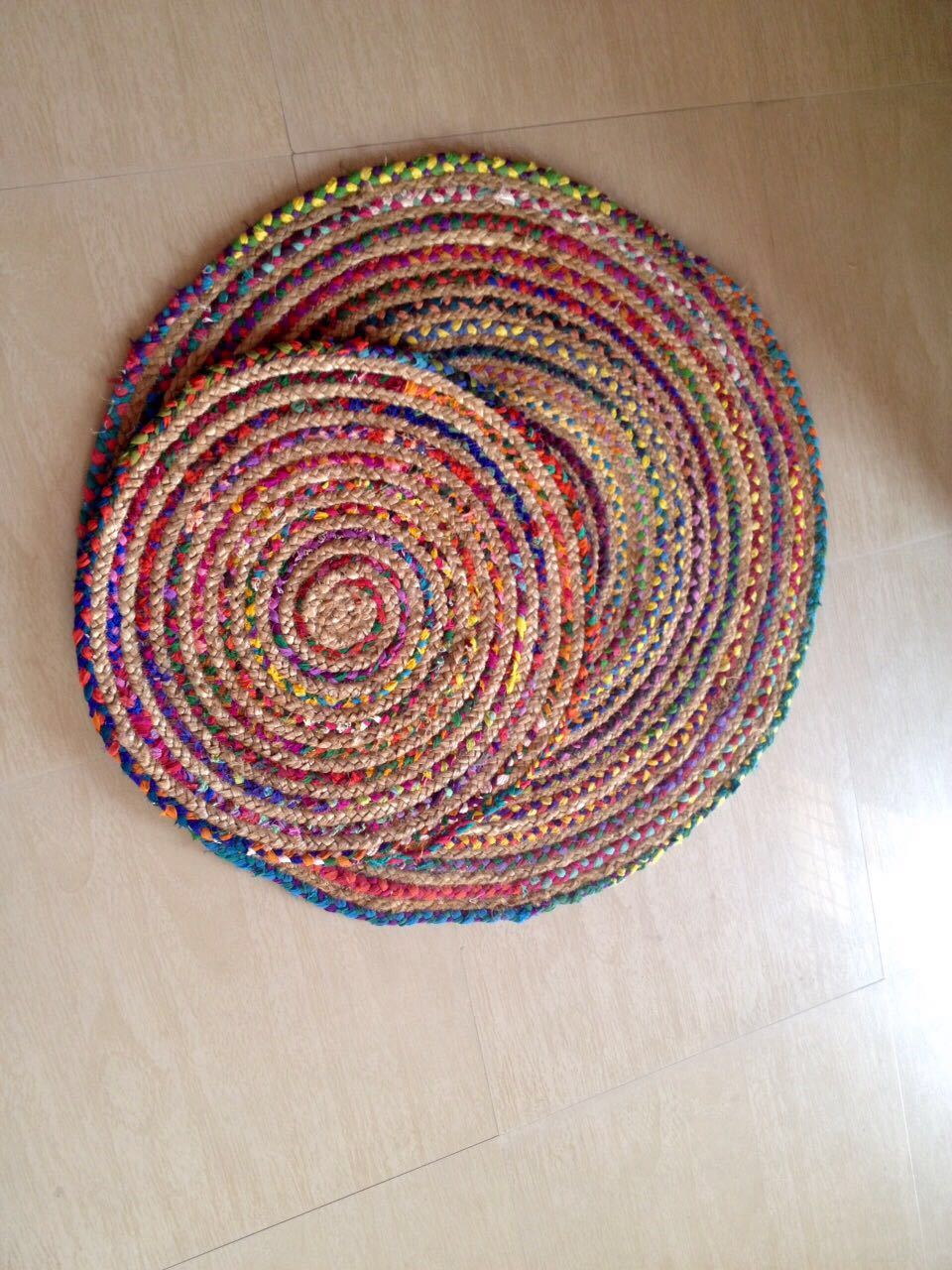Braided Jute Chindi Round Area Rugs