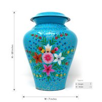 Colorful Hand painted Flower Aluminium Cremation Urn For Ashes