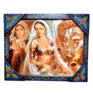 Decorative Indian Village Girl Painting Wooden Handicraft Wall Hanging Painting