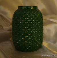 GREEN COLOR FINISH FLOWER VASE GLASS MADE