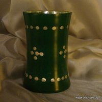 SILVER FINISH GREEN COLOR GLASS FLOWER VASE