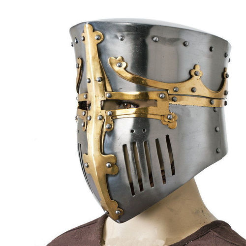 Medieval Bucket Barrel Helmet whit Brass 18G Steel