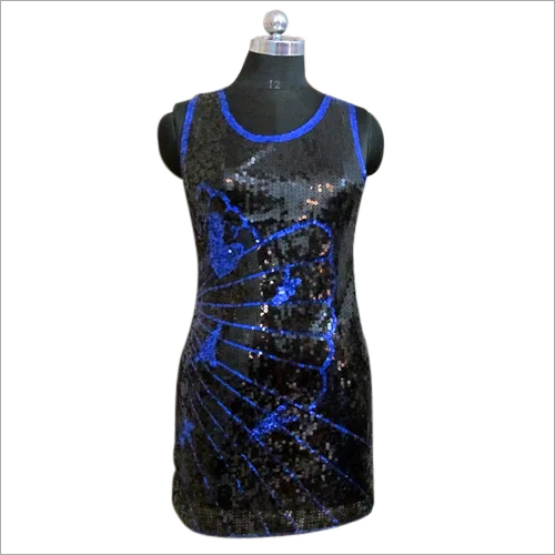 Black Front Sequin Dress