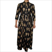 Block Print Rayon Fabric Black Ladies Kurta