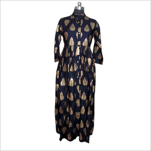 Block Print Rayon Fabric Blue Ladies Kurta