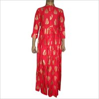 Block Print Rayon Fabric Red Ladies Kurta