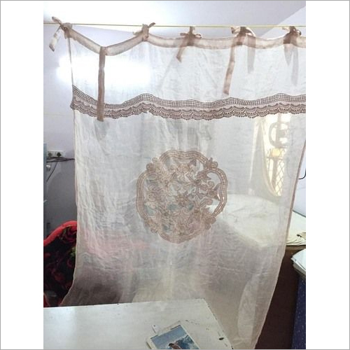 Linen Cut Work Embroidery Curtain