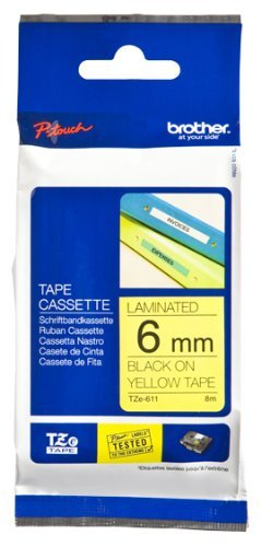 Brother Genuine Black on Yellow P-Touch Tape(TZe-611)