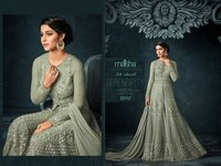 super model looks beige Embroidered Abaya Style Anarkali Suit