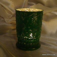 T LIGHT GLASS CANDLE HOLDER WITH SILVER FINISH