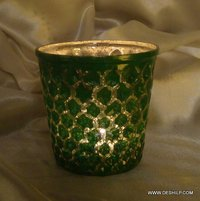 GREEN GLASS T LIGHT VOTIVE