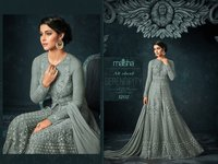 super model looks grey Embroidered Abaya Style Anarkali Suit