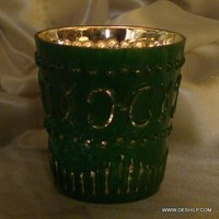 Silver Glass Candle Handmade Votive