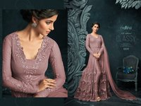 super model looks pink Embroidered Abaya Style Anarkali Suit