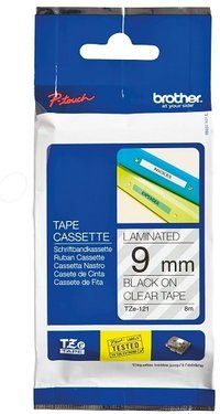 Brother Genuine Black on Clear Matte P-Touch Tape(TZe-121)