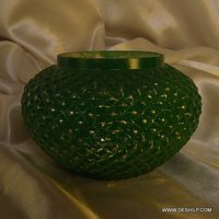 MATKI SHAPE GREEN CANDLE HOLDER