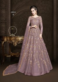 Embroidered Net and Abaya Style lehenga Suit in PURPLE