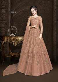 Embroidered Net and Abaya Style lehenga Suit in ORANGE