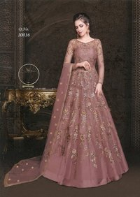 Embroidered Net and Abaya Style lehenga Suit in PINK