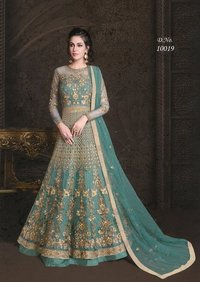Embroidered Net and Abaya Style lehenga Suit in GREEN