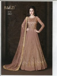 Embroidered Net and Abaya Style lehenga Suit in BROWN