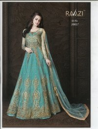 Embroidered Net and Abaya Style lehenga Suit in SKY BLUE
