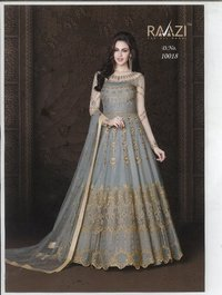 Embroidered Net and Abaya Style lehenga Suit in GREY