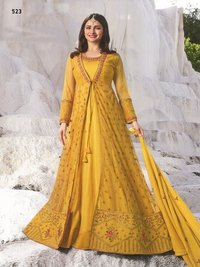 prachi desai yellow net with georgette satin abaya jacket style Suit