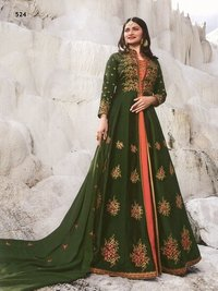 prachi desai green modern satin with georgette satin abaya jacket style Suit