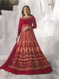 prachi desai red net with georgette satin abaya style anarkali Suit