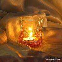 CRACK GLASS T LIGHT CANDLE HOLDER