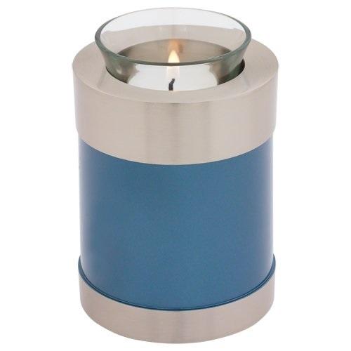 Adria Peacock Blue Tealight Urn 5 Inches High