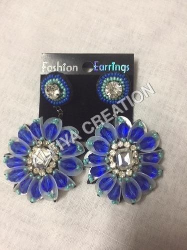crystal stone earring, dangle hook earring