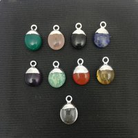 Birthstone Silver Electroplated Charms Pendant - Smooth Rough Gemstone Pendant