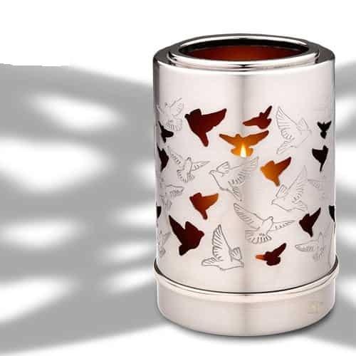 Pewter Birds votive urn