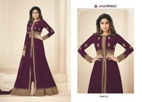 Abaya style purple Georgette Anarkali Suit