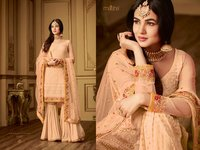 Designer Embroidered Gharara Suit