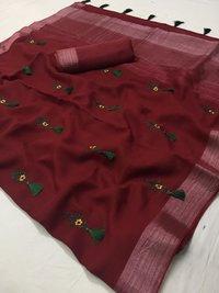Ladies Linen Silk Saree