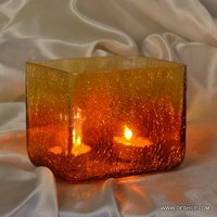 CRACK GLASS T LIGHT CANDLE HOLDER