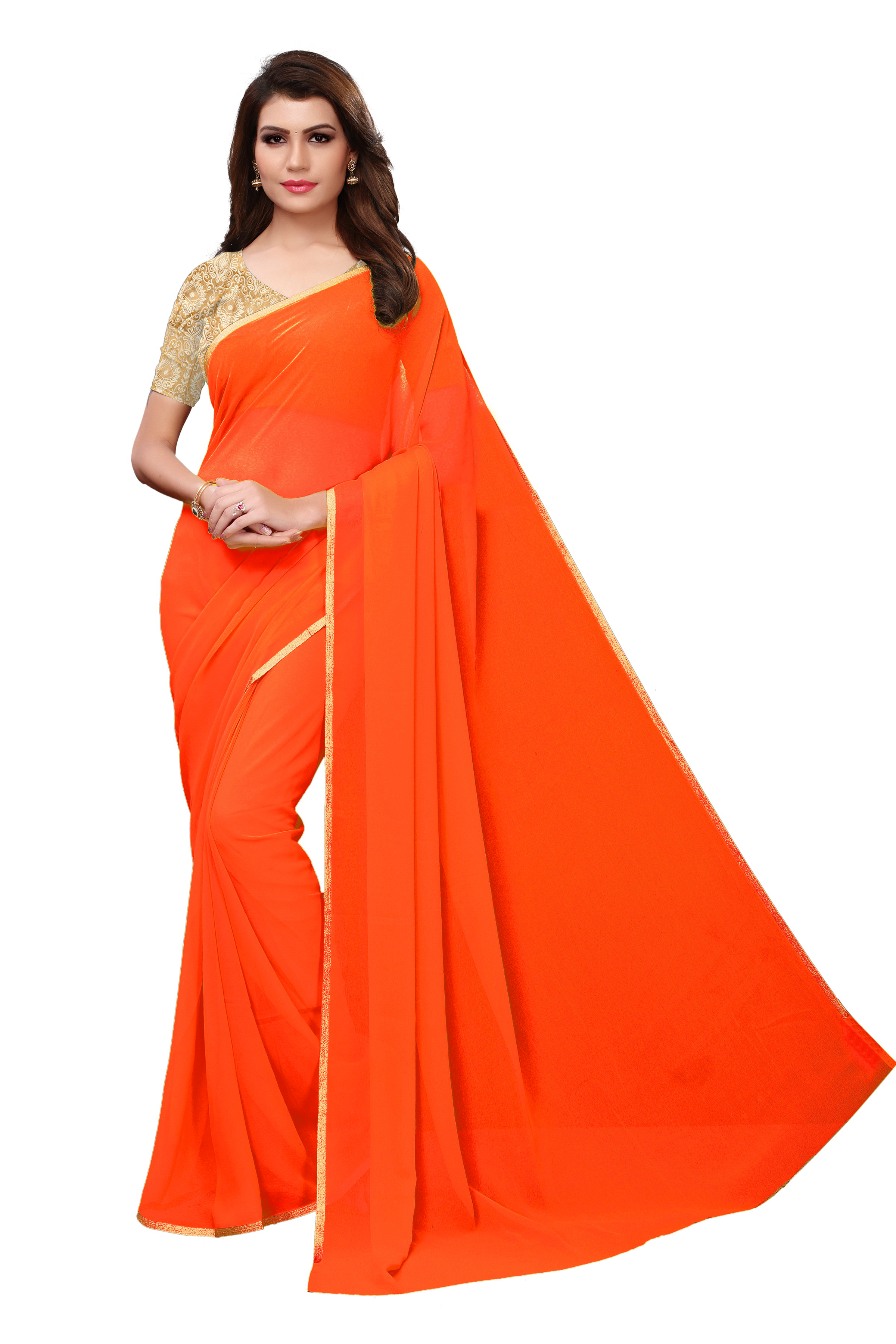 Solid Embroidery Silk Saree