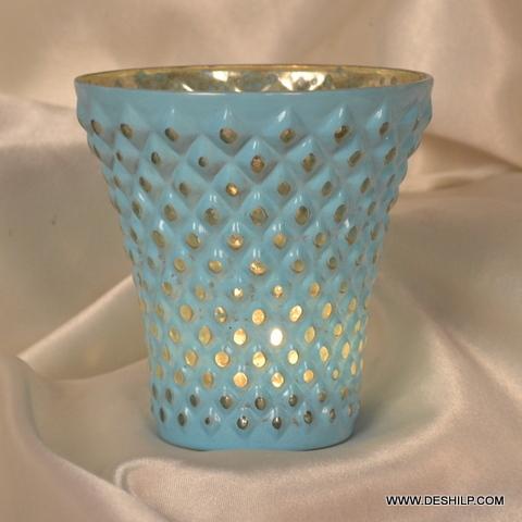 TUMBLER SHAPE SILVER GLASS CANDLE VOTIVE