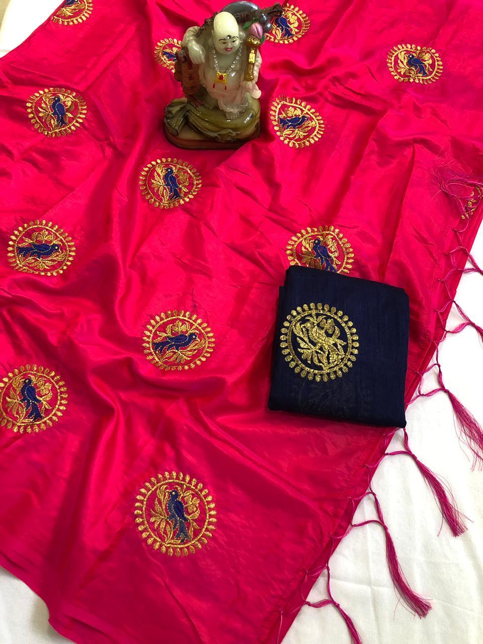 Roshani Embroidery Silk Saree