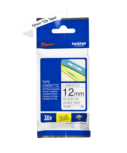 Brother Genuine Black on White P Touch Tape (TZe-231)
