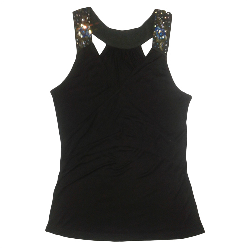 Ladies Black Tank Crop Top